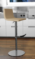 Contemporary bar stool / leather / adjustable / swivel