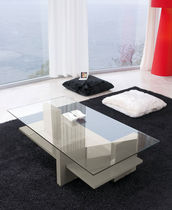 Contemporary coffee table / wooden / glass / lacquered wood