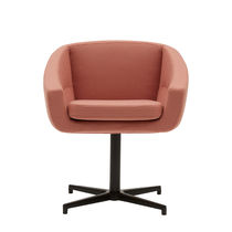Contemporary armchair / fabric / aluminum / swivel