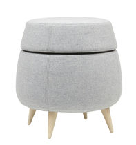 Contemporary pouf / fabric / wooden / with storage compartment