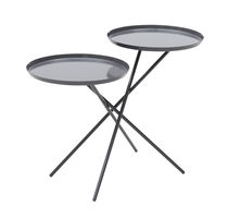 Contemporary side table / metal / round / white