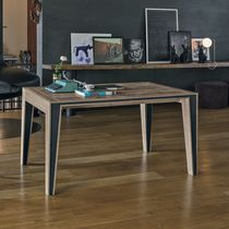Contemporary dining table / metal / laminate / rectangular