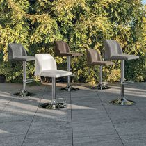 Bar chair / contemporary / chromed metal / upholstered