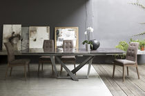 Contemporary dining table / metal / porcelain stoneware / rectangular