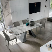 Contemporary dining table / painted metal / brushed metal / porcelain stoneware