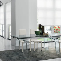 Contemporary dining table / tempered glass / curved glass / aluminum