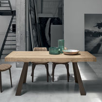 Contemporary table / wooden / painted metal / brushed metal