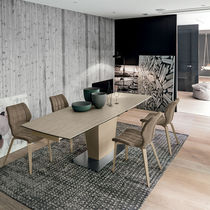 Contemporary dining table / tempered glass / porcelain stoneware / metal