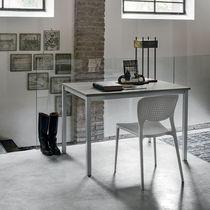 Contemporary table / painted metal / laminate / rectangular