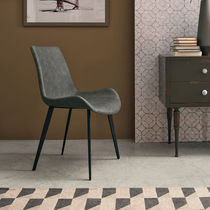 Contemporary chair / upholstered / leather / painted metal