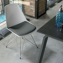 Contemporary chair / upholstered / painted metal / polypropylene