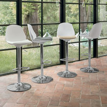 Contemporary bar chair / upholstered / with footrest / central base