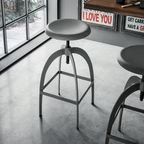 Contemporary bar stool / painted metal / with footrest / adjustable