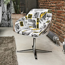Contemporary armchair / fabric / star base