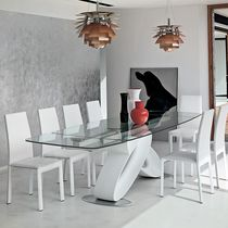 Contemporary dining table / glass / polyurethane / tempered glass
