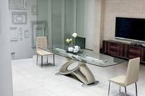 Dining table / contemporary / glass / polyurethane