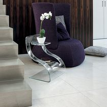 Contemporary side table / glass / curved
