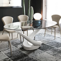 Contemporary dining table / tempered glass / oval