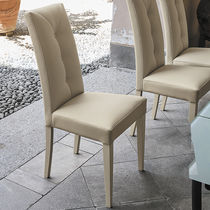 Contemporary dining chair / lacquered wood / wooden / upholstered