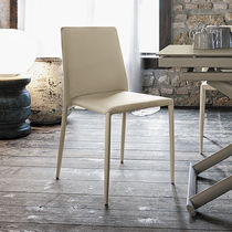 Contemporary chair / leather / upholstered