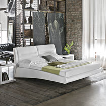Double bed / contemporary / with headboard / upholstered