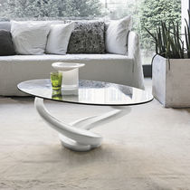 Contemporary coffee table / glass / tempered glass / oval