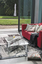 Contemporary coffee table / glass / metal / curved