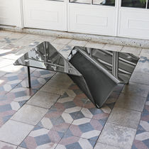 Contemporary coffee table / curved glass / metal