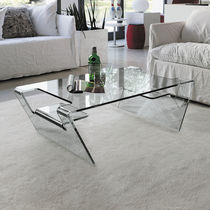 Contemporary coffee table / glass / curved