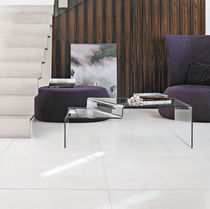 Contemporary coffee table / curved glass / rectangular