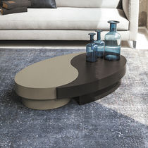 Contemporary coffee table / lacquered wood / oval