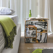 Contemporary pouf / fabric / with storage compartment
