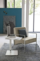 Contemporary armchair / steel / sled base