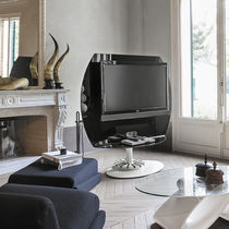 Contemporary TV stand / swivel / metal / glass