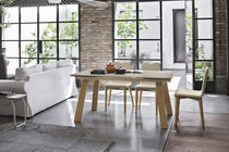 Dining table / contemporary / glass / metal