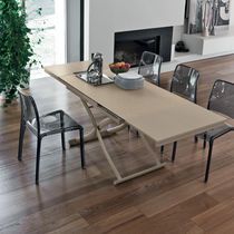 Contemporary table / MDF / tempered glass / painted metal
