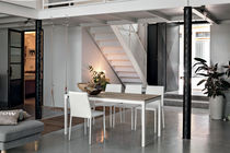 Contemporary dining table / glass / laminate / tempered glass