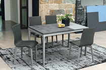 Dining table / contemporary / glass / laminate