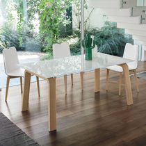 Contemporary dining table / porcelain stoneware / laminate / tempered glass