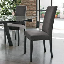 Contemporary chair / upholstered / high-back / wooden
