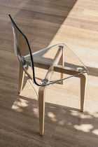 Contemporary chair / wooden / polycarbonate / transparent