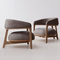 Contemporary armchair / fabric / wooden