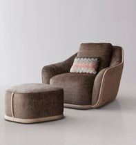 Contemporary armchair / fabric / with footrest