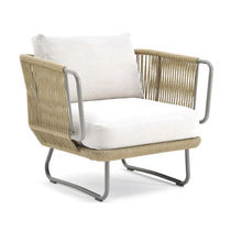 Contemporary armchair / fabric / aluminium / synthetic fiber