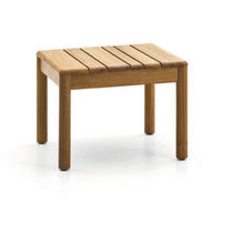 Contemporary side table / teak / square / garden