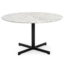 Contemporary table / metal / round / garden