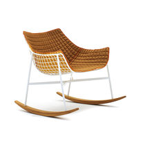 Rocker armchair / contemporary / teak / powder-coated steel