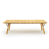 Contemporary dining table / teak / powder-coated steel / HPL