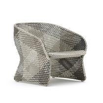 Contemporary armchair / aluminum / synthetic fiber / contract
