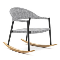 Contemporary armchair / solid wood / iroko / painted aluminum